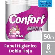 PAPEL HIGIENICO MEGA ROLLO DOBLE HOJA 50 MT 8 ROLLOS