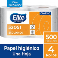 PAPEL HIGIENICO NATURAL HOJA SIMPLE 4 ROLLOS X 500 METROS ELITE