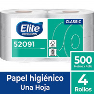 PAPEL HIGIENICO ECONOMICO HOJA SIMPLE 4 ROLLOS X 500 METROS ELITE