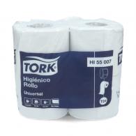 PAPEL HIGIENICO HOJA SIMPLE 4 ROLLOS X 50 METROS TORK