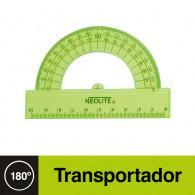 TRANSPORTADOR N  180 10 CM BISELADO COLOR VERDE TRANSPARENTE