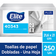 TOALLA PAPEL INTERFOLIADO HOJA SIMPLE 1X250 UN ELITE