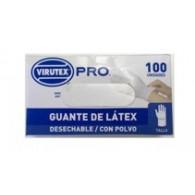 GUANTE DESECHABLE LATEX C/POLVO TALLA M 100 UN