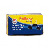 CLIPS FULTONS DOBLE NEGRO 12 UNIDADES 15 MM