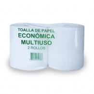 TOALLA PAPEL HOJA SIMPLE 145 MT 2 ROLLOS MULTIUSO ECONOMICA